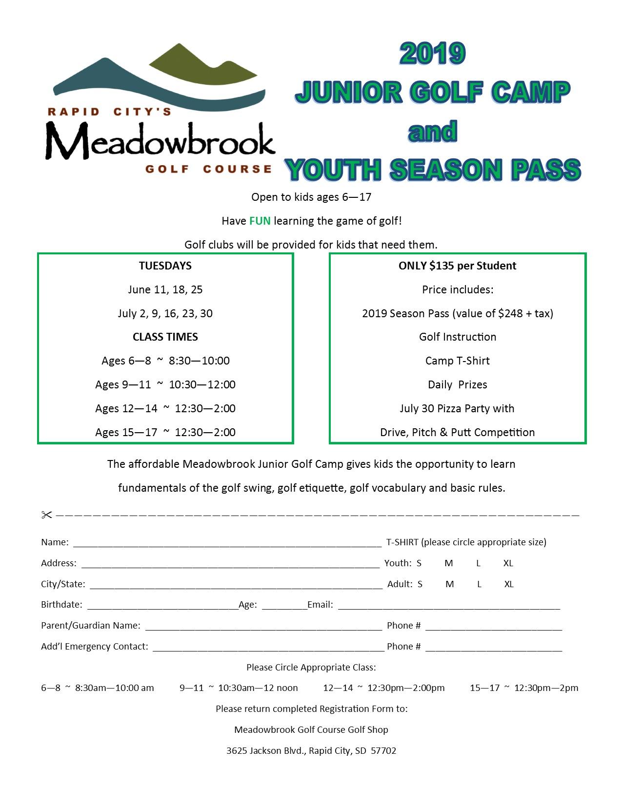 2019 Junior Golf Camp with dates pic