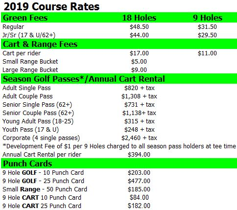 2019 Rates for Website